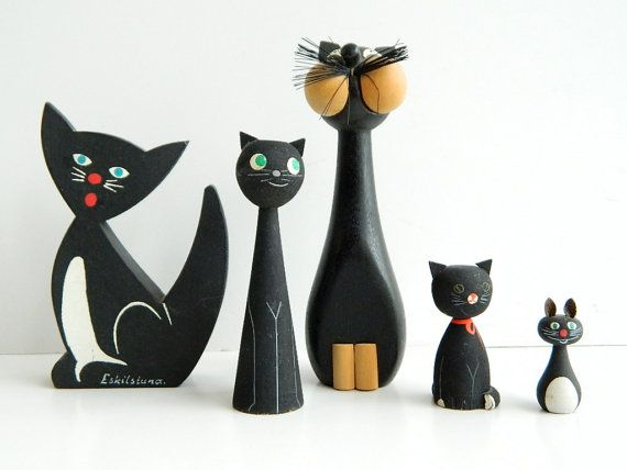 One Black Wooden Cat from Sweden Handpainted by MonkiVintage. $18.00 USD, via Etsy.