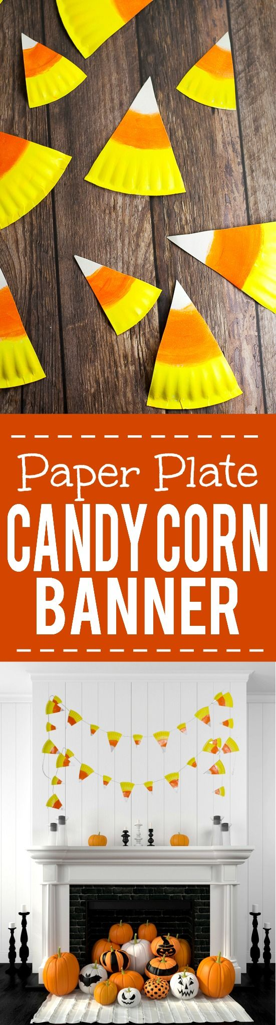 Easy homemade halloween decorations - Easy Paper Plate Candy Corn Banner Tutorial Halloween Festivalhalloween Diydiy Halloween Decorations