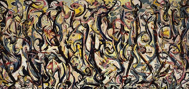 (Jackson Pollock) Art historian Henry Adams contends that Pollock created Mural around his name, discernible as camouflaged letters. (University of Iowa Museum of Art, Gift of Peggy Guggenheim 1959.6