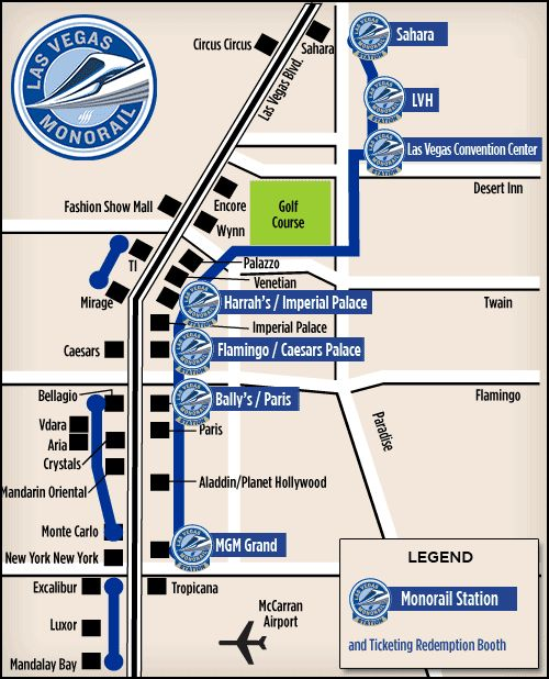 Las Vegas Monorail Map | VEGAS.com - runs near the Mirage Hotel & Casino. Convenient for time in Vegas for Gear Up Royal Flush tax and accounting CPE conference, November 30-December 5, 2015