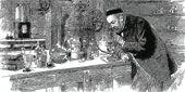 Луи Пастер в своей лаборатории. Хотя аналогичные идеи возникали и у других ученых, именно благодаря экспериментам Пастера было установлено, что причина болезней— микроорганизмы, а его имя увековечено в термине «пастеризация»