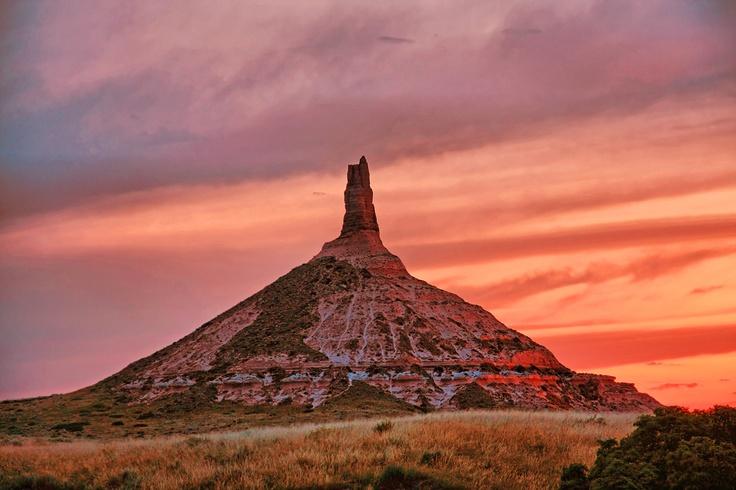 Chimney Rock, Scottsbluff Nebraska.  Half way point for pioneers on the Oregon Trail.