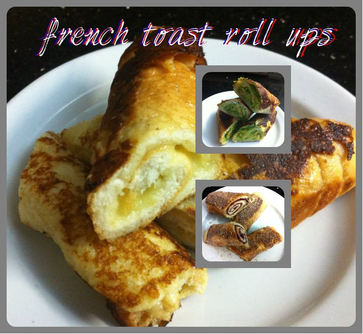 French toast ideas: Jam roll French toast coated in cinnamon sugar. French toast centred with melted cheese. French toast centred with mashed avocado!