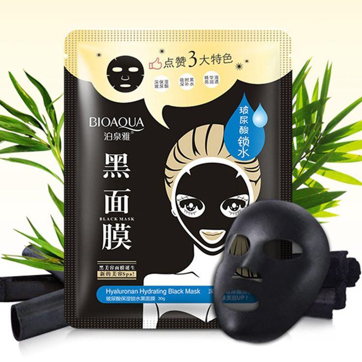 BIOAQUA Hyaluronic Acid Black Mask Wrapped Mask Moisturizing Oil Control Acne Treatment Blackhead Remover Face Care Facials