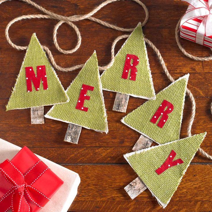Decoupage - Christmas Tree Burlap Pennant Banner DIY