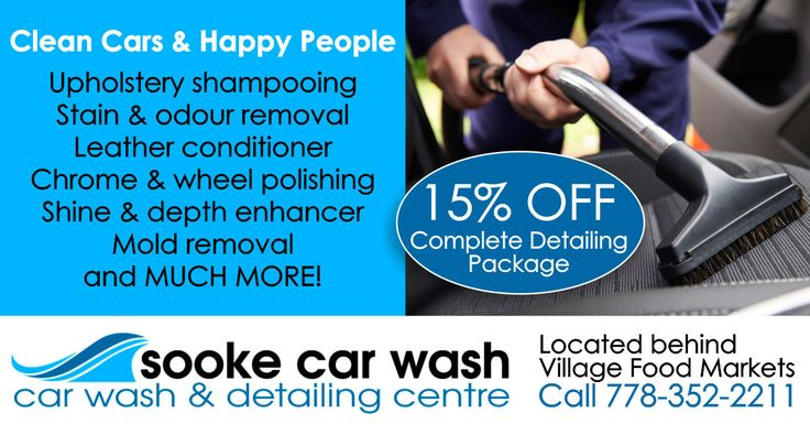 There's nothing like a new car clean but doing it yourself is a total, back breaking chore. Sooke Car Wash and Detailing Centre will rescue, revive and restore your vehicle to it's ultimate, almost-new best! Use your Sooke GoCard to receive 15% OFF a complete detailing package. This is an amazing deal! Click here for more details: http://experiencesooke.com/save/gocardsavings#utm_sguid=146015,19450c5b-6412-db27-7eae-0d735376ded0 #sookecarwash #sookegocard