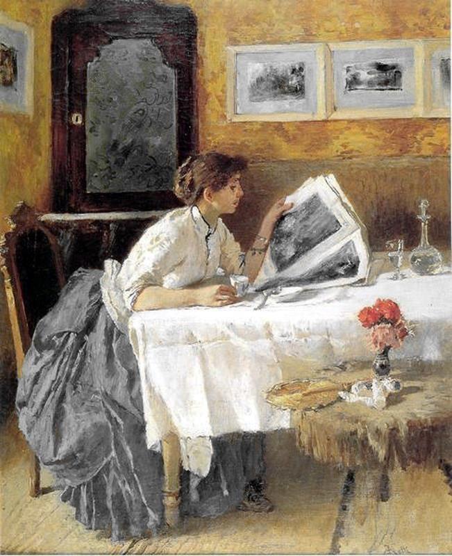 The Reader (1873).Francesco Netti(Italian, 1832-1894). Love the mustard and gray combination.