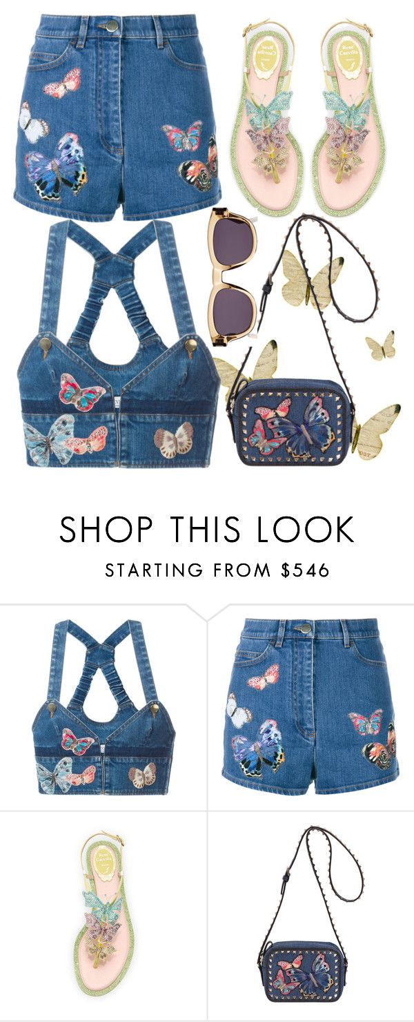 """""""Flutter and Fly"""" by ladygroovenyc ❤ liked on Polyvore featuring Valentino, René Caovilla, Yves Saint Laurent, butterflies, CasualChic, denimshorts and denimshirt"""