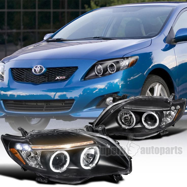 2009-2010 Toyota Corolla Clear LED Dual Halo Projector Headlights Black