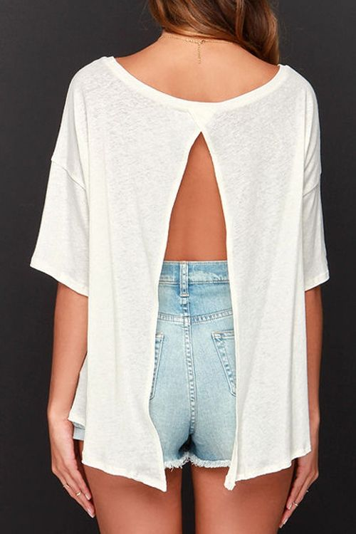 White Half Sleeve Backless T-Shirt