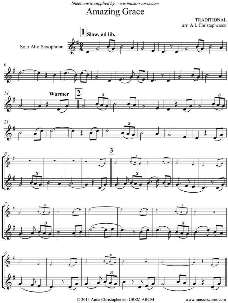 Amazing Grace: Alto Sax: 7 mins by Traditional
