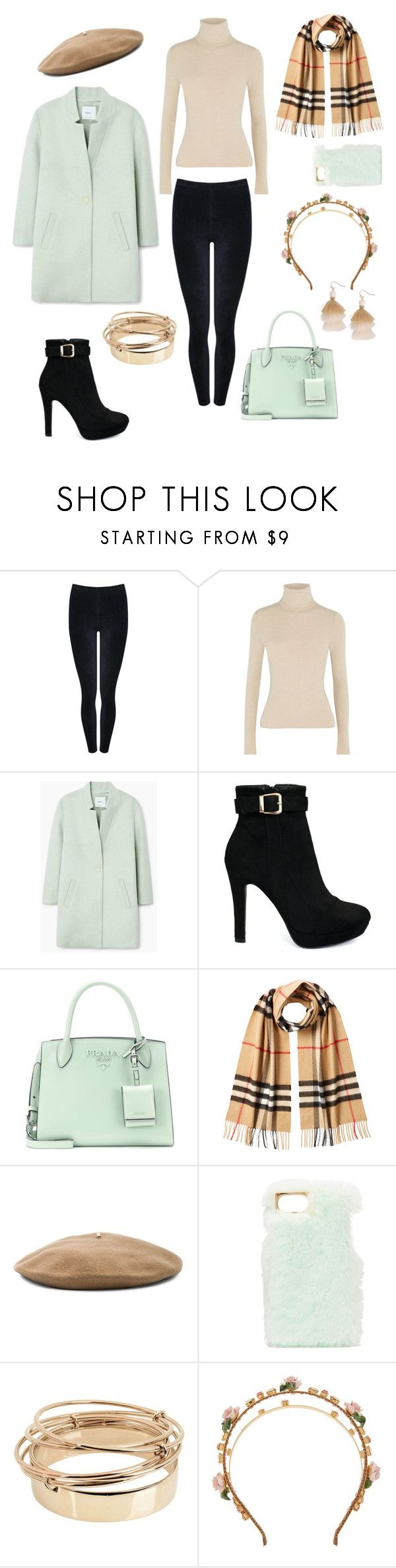 """""""Windy weather"""" by lisaachan ❤ liked on Polyvore featuring M&Co, Alice + Olivia, MANGO, Prada, Burberry, Janessa Leone, Charlotte Russe, Valentino, Dolce&Gabbana and Humble Chic"""