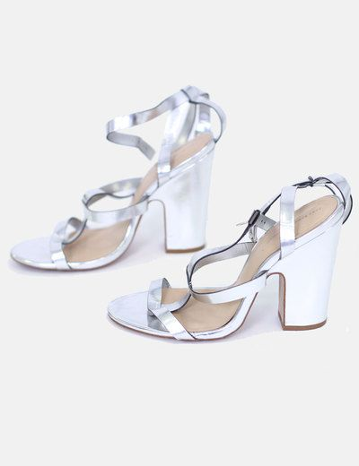 Sandalias tacón plateadas Zara