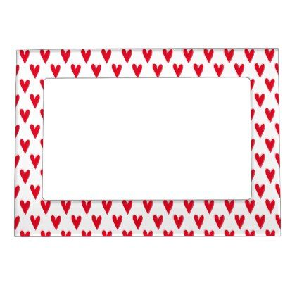 #Cute Red Hearts Pattern | Valetine's Day Magnetic Picture Frame - #wedding #love #couple