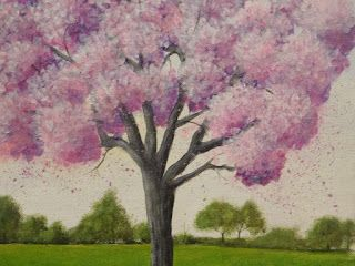 My Illustrations: Blossom tree painted with acrylics on gallery wrap...
