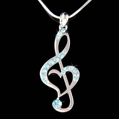 221 best music necklaces images on pinterest music necklace music baby blue swarovski crystal treble g clef love music musical note heart pendant necklace aloadofball Choice Image