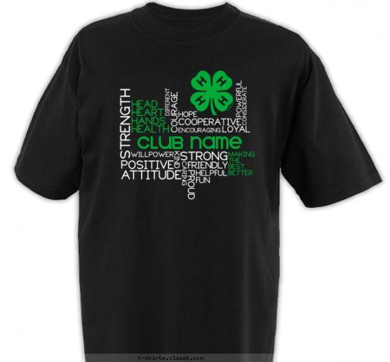 4 h club power words shirt t shirt design - Designs For Shirts Ideas