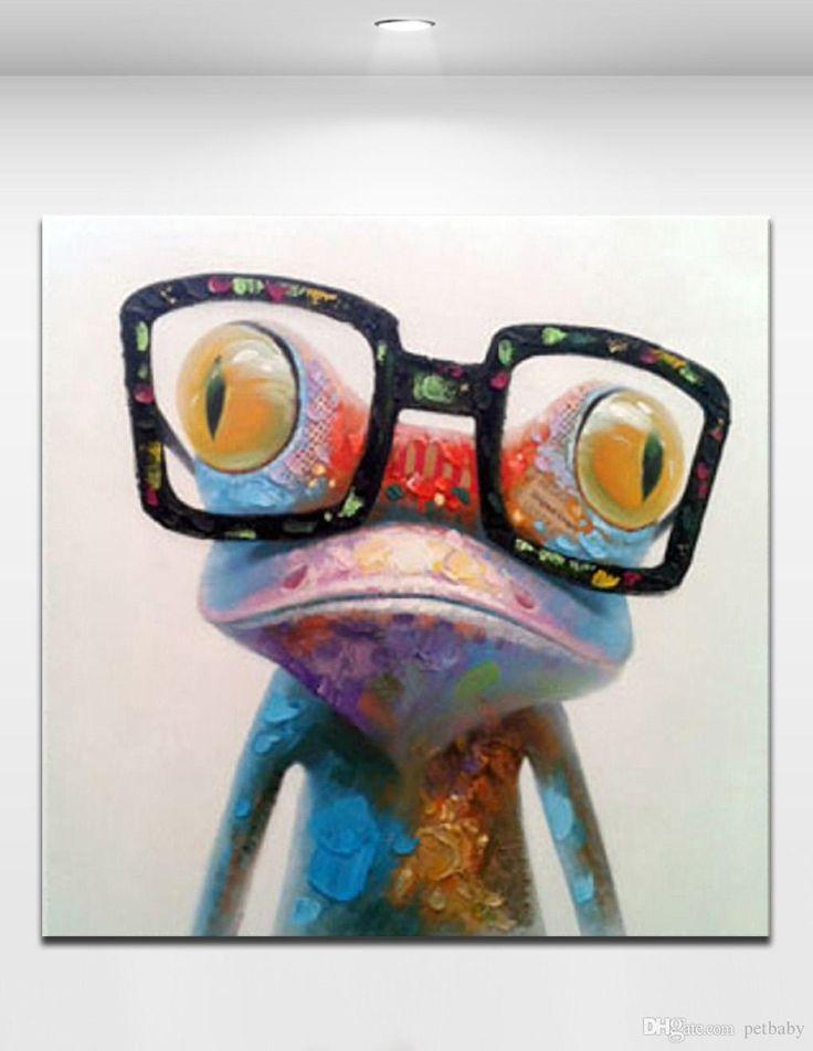 Happy Frog Wearing Glasses Cartoon Animal Handpainted Oil
