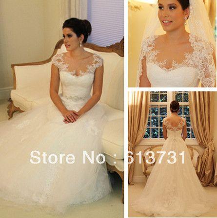 2013 New Design Vestidos De Noivas Cap Sleeves Appliques A