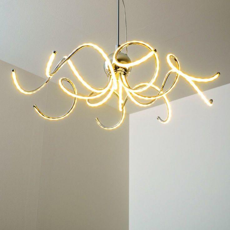 details zu led pendellampe design hngelampe chrom pendelleuchte esszimmer hngeleuchte - Feuer Modernen Design Rotes Esszimmer