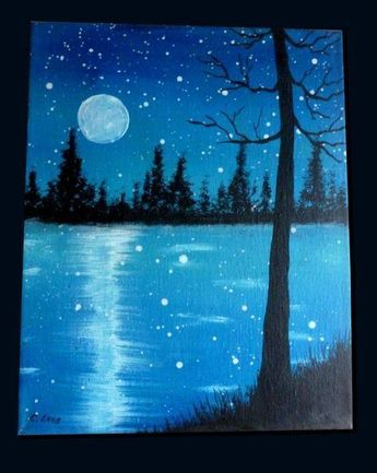 Moon reflections over the lake. 19 Easy Canvas Painting Ideas To Take On