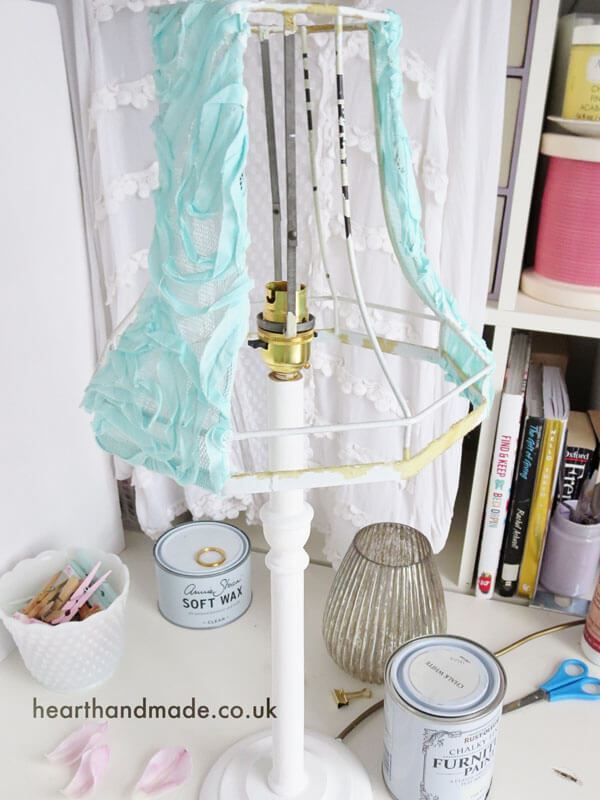 Aqua rose tulle fabric lampshade - learn how to recover a lampshade