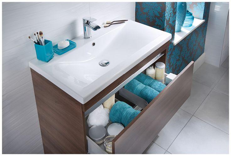 Soft close drawer in floor standing unit #qube #freestanding #bathroomfurniture #myutopia
