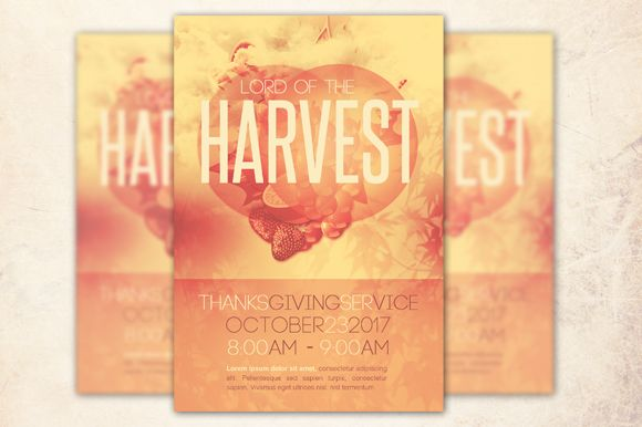 Lord of the Harvest Church Flyer Template can be used for your Harvest and Autumn celebrations, Sermons, Conferences, Youth Programs etc. In this package you'll find 1 Photoshop file. All text and graphics in the file are editable, color coded and simple to edit. The file also has 5 one-click color options.