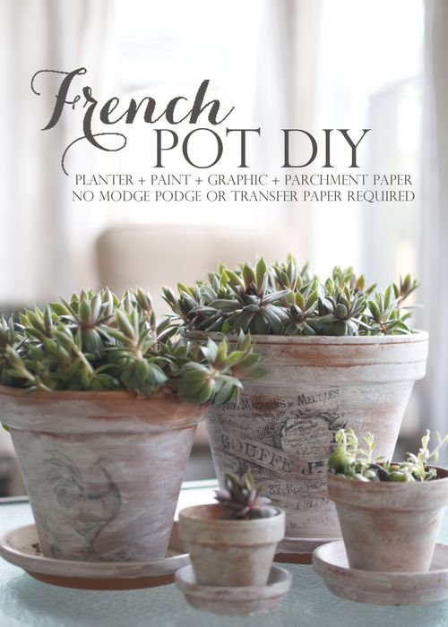 diy French clay pots succulent planters calcium stained antiqued glazed                                                                                                                                                                                 More