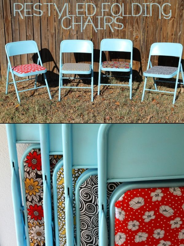 Painted folding chairs ~ great idea for Bunco chairs