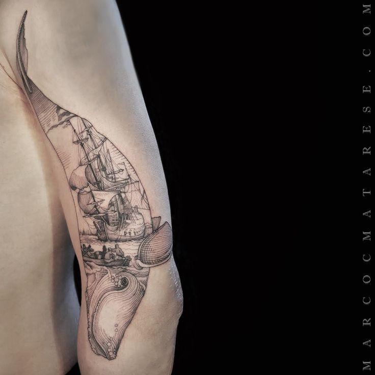 Whale, boat by Marco C. Matarese (puro tattoo studio) | Etching, linework, engraving. Milan, Italy. #purotattoostudio #marcocmatarese #matarese #incisione #etching #engraving #drawing #lines #blackwork #milano #milan #tatuage #ink #tattoo #tattooist #nero #tatuatore #linework #blackart #acquaforte #blackline #tattooideas #inktattoo #black #crossetching #purotattoostudio