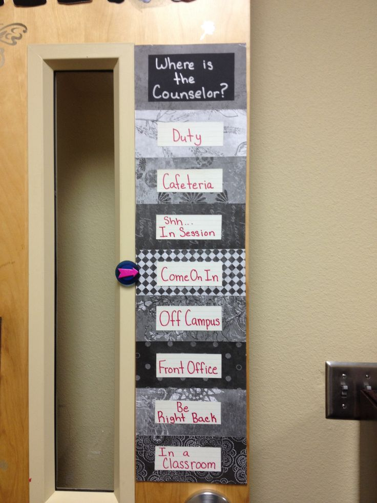"""Counselor's door. """"Where is the Counselor"""""""