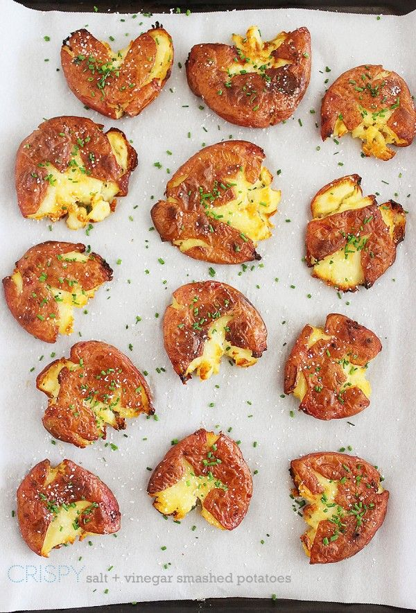 Crispy Salt and Vinegar Smashed Potatoes – Serve these super crispy, tangy potatoes on the side of your favorite grilled meats for a scrumptious meal! | thecomfortofcooking.com
