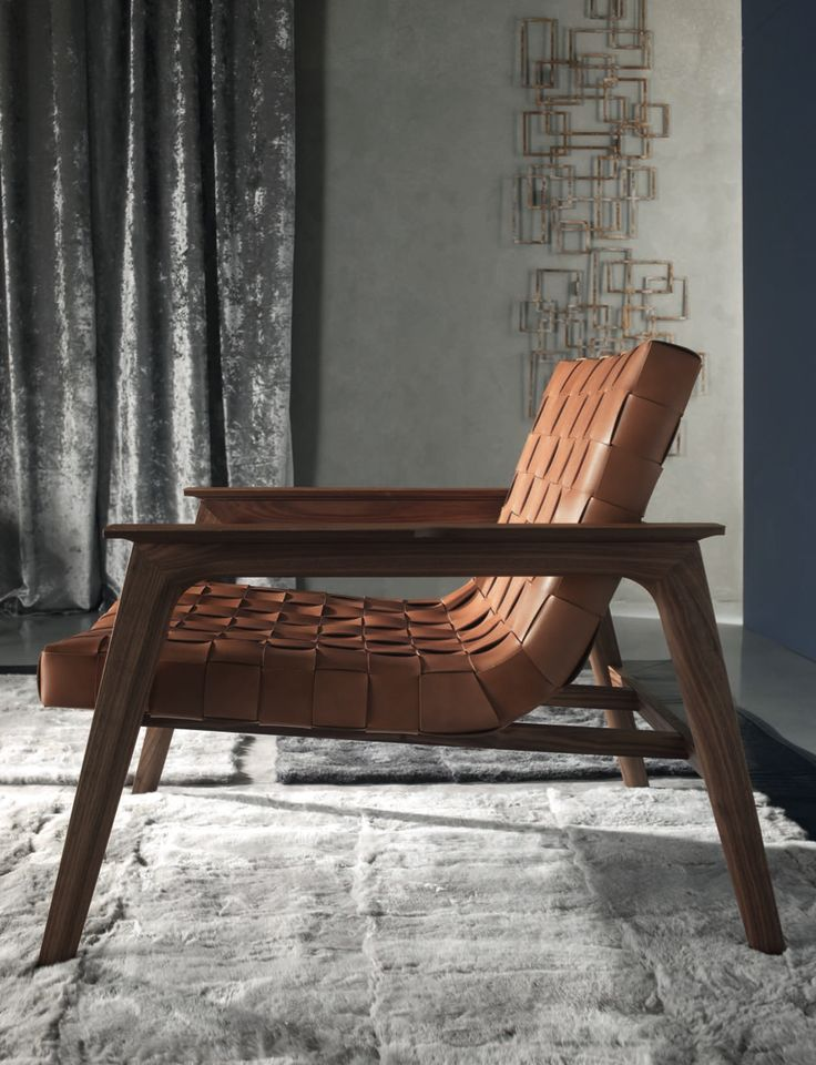 rUE BRAIDED LEATHER + WALNUT lounge chair Materials: Italian saddle leather  + Walnut Dimensions: