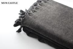 Stonewashed   Herringbone   Oversized Beach Towels   Black   Bedspread   Queen   Large Beach Blankets   Bed Cover   Large Beach Towels   by Mon Castle