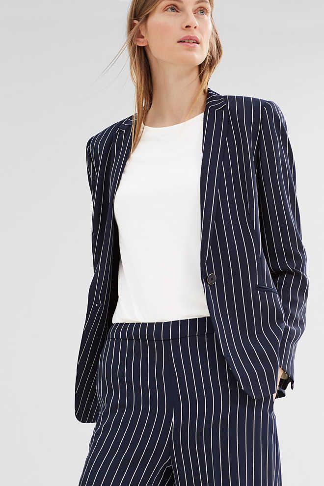 Esprit / Soepele blazer met krijtstrepen