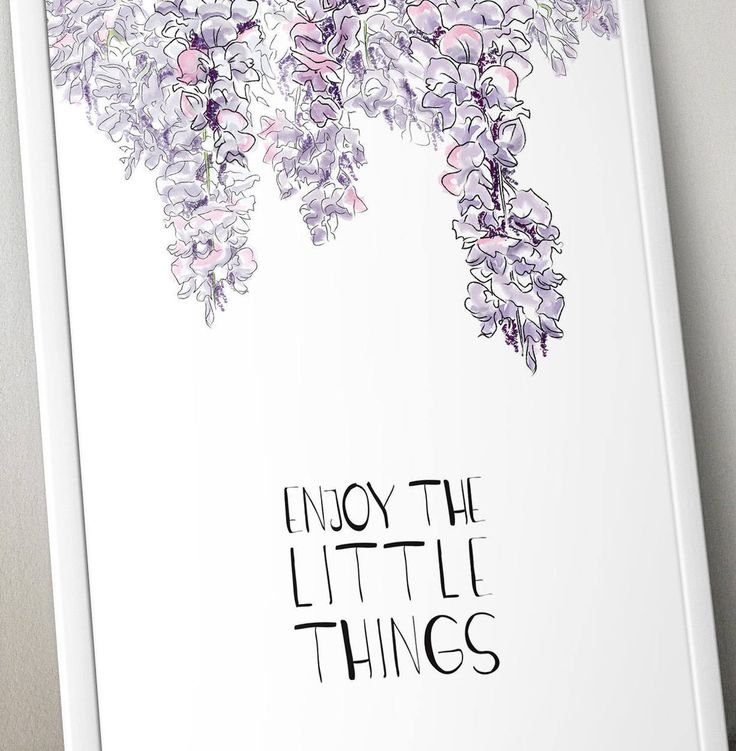 Watercolor printable wisteria quote, inspirational print, home decor, wall art, Enjoy the little things, instant download, digital file di VersusPrints su Etsy
