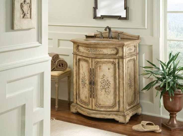 Ambella Home Collection   Floral Ivory Sink Chest