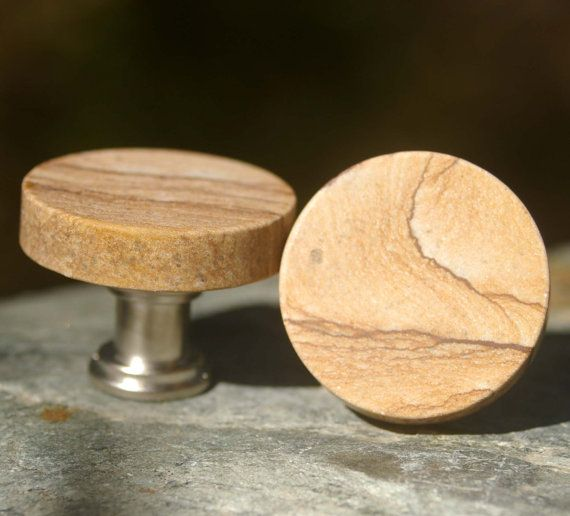 Round Picture Jasper Cabinet Knobs - Set of 2, Stone Cabinet Knobs, Kitchen Knobs and Pulls