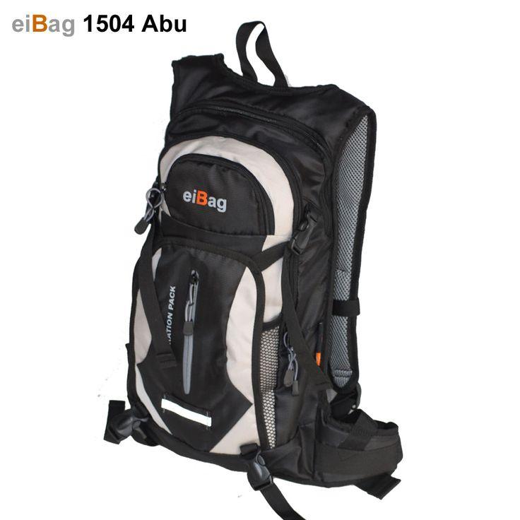 Jual tas sepeda murah model ransel kode EIBAG 1504 abu yang pada paket penjualannya sudah termasuk free cover bag, bisa bawa bladder, helm, juga pakaian