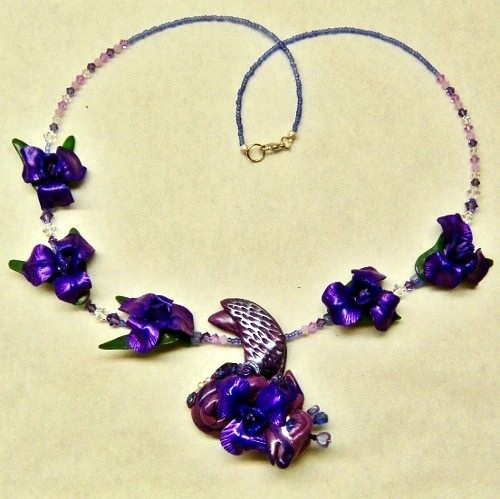OOAK Purple Dragon and Iris Flower Necklace with Swarovski Crystals from CreativeCritters