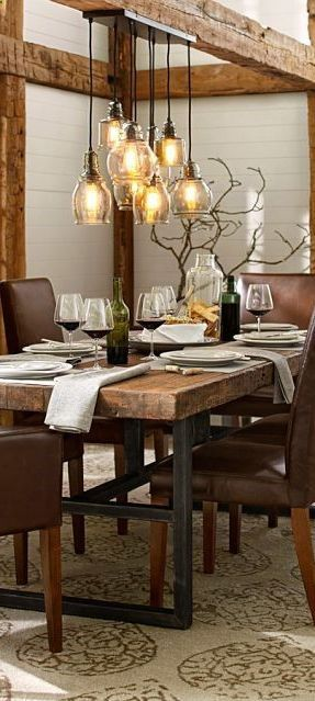 Rustic Industrial Lighting Fixture Over The Dining Area