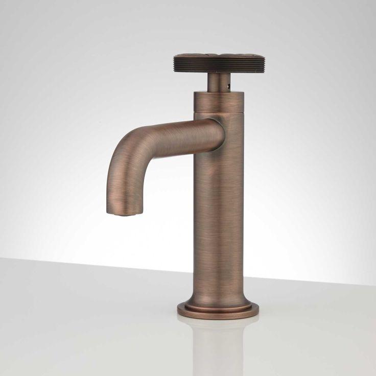 Edison Single Hole Brass Bathroom Faucet with Pop-Up Drain - Overflow - Bronze