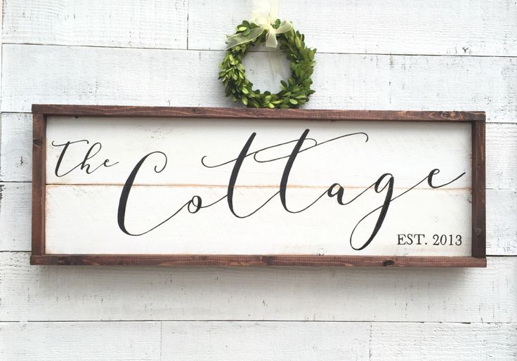 Cottage Sign, vintage Home Decor by BrushAndTwine on Etsy https://www.etsy.com/listing/473722106/cottage-sign-vintage-home-decor
