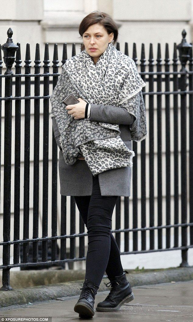 Wrapping up warm: Pregnant Emma Willis cut a cosy figure on Tuesday as she ran errands in ...