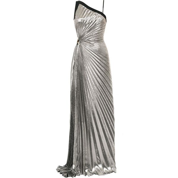 Mugler Goddess pleated lamé gown ($7,209) ❤ liked on Polyvore featuring dresses, gowns, metallic, thierry mugler, metallic evening gown, pleated evening dresses, lame dress and pleated gown