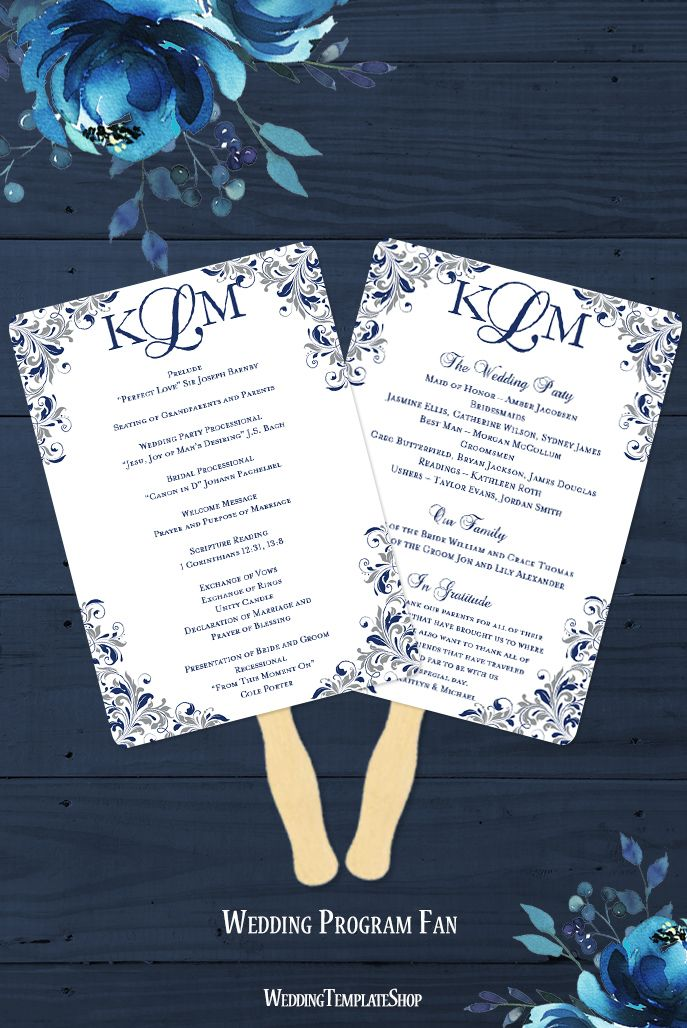 Wedding Program Fan Kaitlyn Navy Blue Gray Monogram