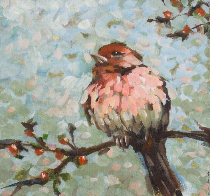 Купить Картина маслом Птичка в саду 30х30см - комбинированный, подарок, подарок на день рождения