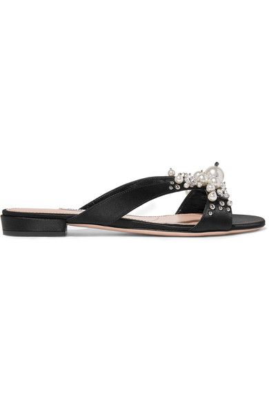 Miu Miu - Embellished Satin Slides - Black - IT36.5