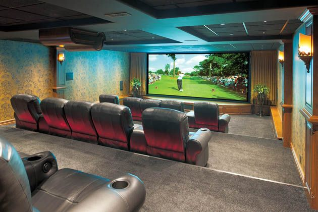 You could watch a game on the 100-inch television screen in the pub, but if you feel like a movie, cross over the 80-foot tunnel and settle in to one of 15 leather recliners in the #theatre and take in a movie on the anamorphic format 212-inch screen. #housetrends